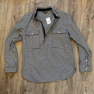 """J. Crew"" Quarter Zip Flannel Shirt W Pockets NWT"